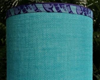 Turquoise Burlap Lampshade, Purple Trim Lamp Shade
