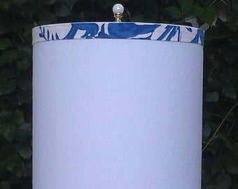 White Drum Lampshade, Cobalt Blue Lamp Shade
