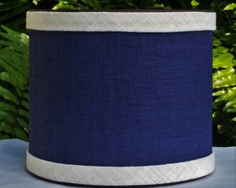 Navy Blue Lampshade, Off White Trim, Clip On