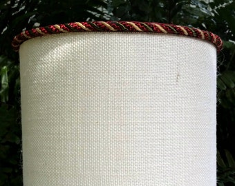 Lamp Shade, Ivory Burlap Drum Lampshade, Red Cord Trim