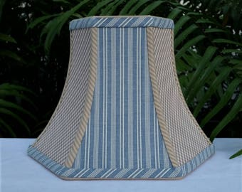 Blue Stripe Lampshade, Beige Gingham, Hexagon Bell Lamp Shade