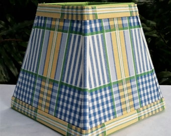 Blue Plaid Lampshade, Vintage Fabric, Clip On Lamp Shade