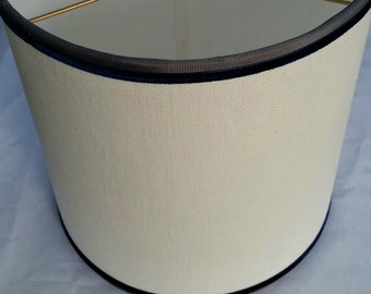 Lampshade, Off White Linen Drum, Gray Blue Velvet Trim Lamp Shade