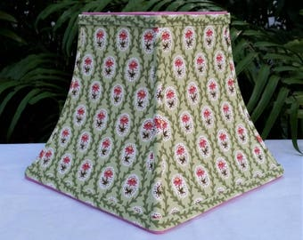 Square Bell Floral Lampshade, Green, Pink Lamp Shade