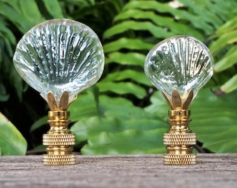 Clear Glass Seashell Lamp Finial
