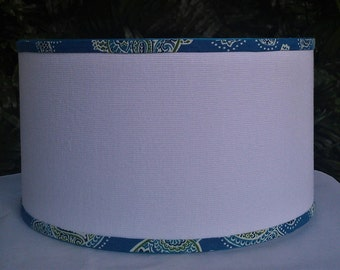 White Linen Drum Lampshade with Turquoise Tommy Bahamas Lamp Shade