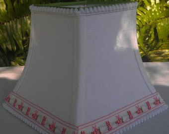 White Linen Baby Lampshade, Pink Bunny Trim Lamp Shade