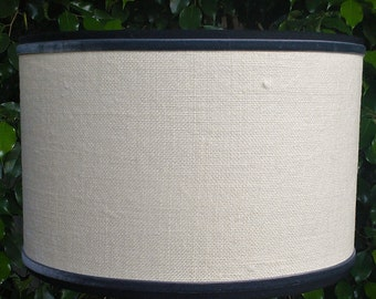 Lampshade, Linen Drum, Cream, Velvet Trim Lamp Shade