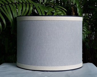 Drum Lampshade, Blue Ticking, Custom Lamp Shade