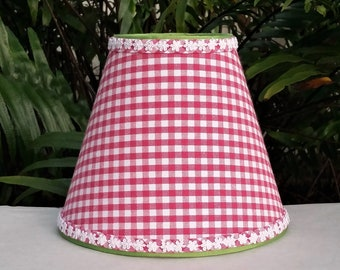 Pink Lampshade, Gingham Lamp Shade