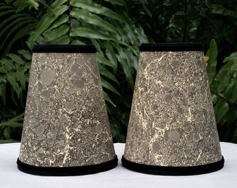 Pair Black Gray Cream Marbled Paper Lampshades
