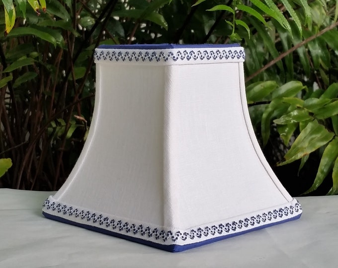 Featured listing image: Small White Blue Lamp Shade Sconce Lampshade