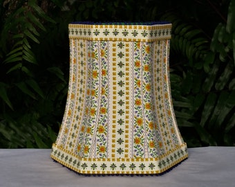 Floral Lampshade, Mustard, Blue, Bell, Clip On
