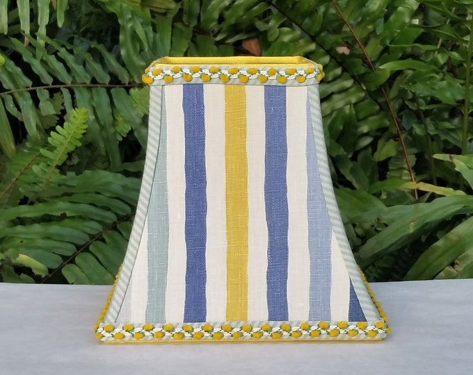 Featured listing image: Blue Yellow Stripe Square Bell Lampshade, Clip On Lamp Shade