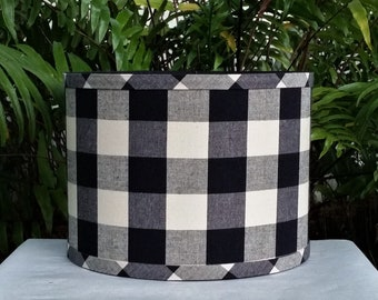 Black Check Lampshade, Drum Lamp Shade