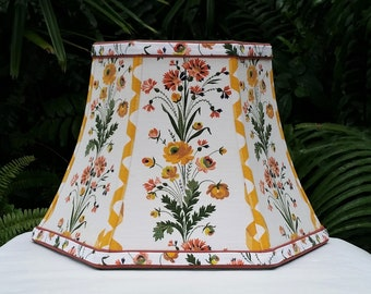 Vintage French Designer Fabric Floral Lampshade, Bell