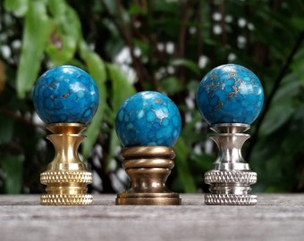 Small Turquoise Lamp Finial, Gold Accents