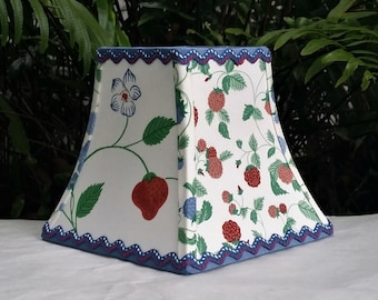 Farmhouse Clip On Lampshade, Blue Square Bell Lamp Shade