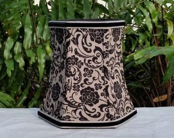 Black Damask Lampshade, Clip On Lamp Shade