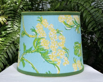 Blue Floral Lampshade, Lilly Pulitzer Fabric, Tapered Drum Lamp Shade