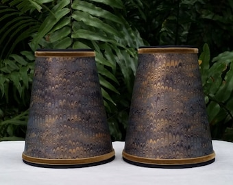 Pair Navy Gold Marbled Paper Lampshades