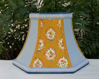 French Country Lampshade,  Golden Mustard Blue Floral Lamp Shade