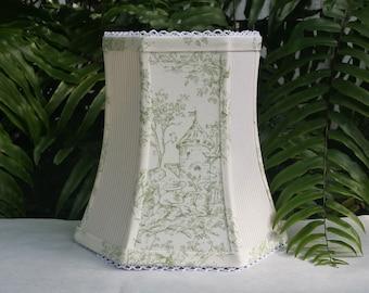 Green Toile Lampshade, Custom Colors