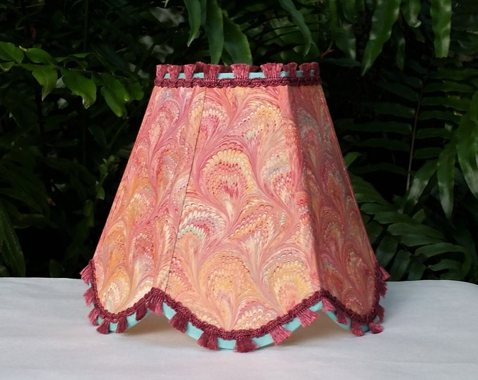 Featured listing image: Marbleized Paper Lampshade, Scallop, Clip On
