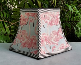 Flamingo Lampshade,Square Bell, Clip On