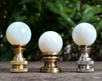 White Lamp Finial, Moon Glow