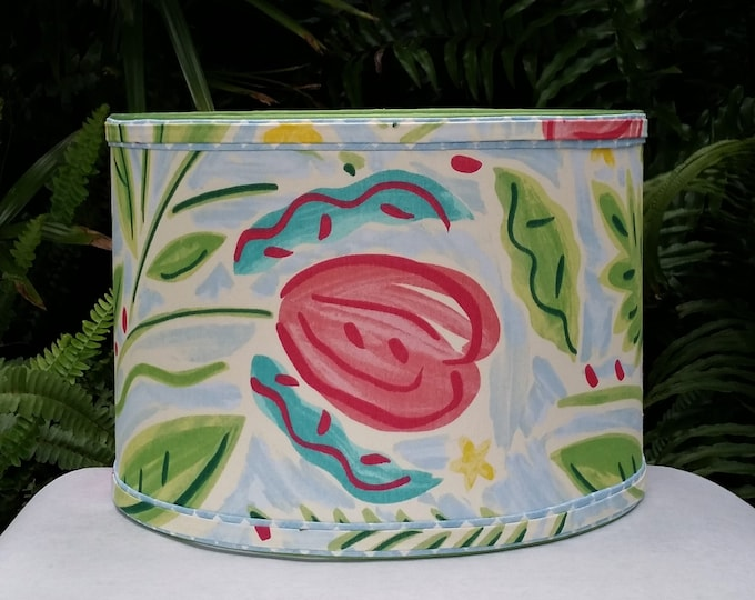 Featured listing image: Tropical Drum Lamp Shade, Floral Lampshade