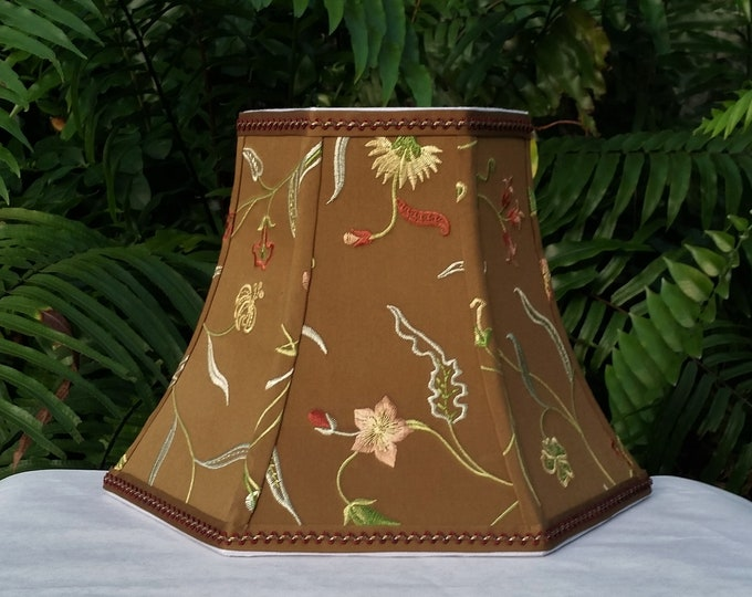 Featured listing image: Floral Embroidered Lampshade, Brown Blue