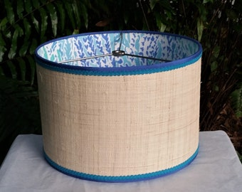 Raffia Cloth Lampshade, Lilly Pulitzer Fabric Lined