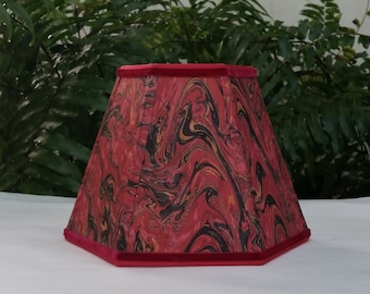 Marbleized Paper Red Hexagon Lampshade Clip On