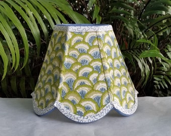 Brunschwig Fils Fabric Lampshade, Clip On, Green Lamp Shade