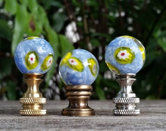 Light Blue Lamp Finial, Glass Marble