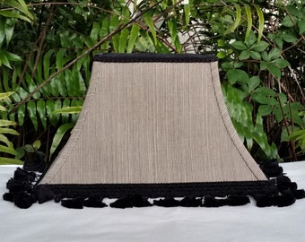 Black Rectangle Bell Lampshade Fringe Trim