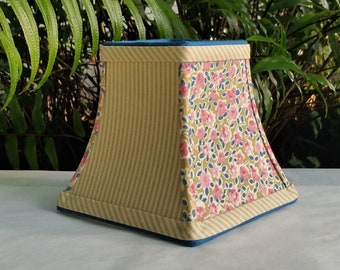 Vintage Pink Floral Ticking Stripe Lampshade, Sconce Lamp Shade, Candle Clip