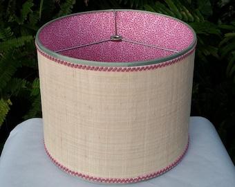 Raffia Cloth Lampshade, Pink Calico Fabric Lined