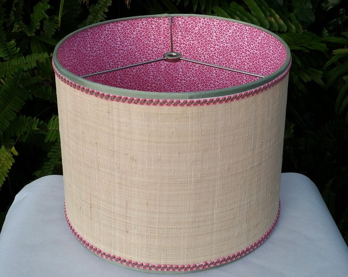 Featured listing image: Raffia Cloth Lampshade, Pink Calico Fabric Lined