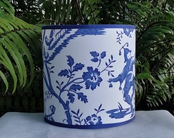 Drum Lampshade, Cobalt Blue White Cotton Lamp Shade