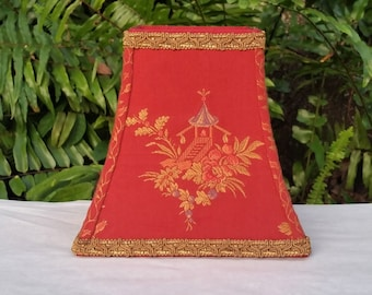 Red Lampshade, Asian Pagoda, Embroidered, Gold