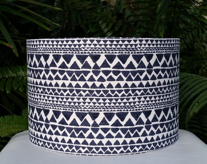 Featured listing image: Navy Blue White Lampshade, Nautical Drum Lamp Shade