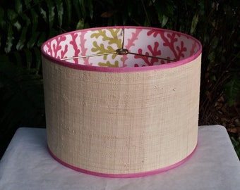Raffia Cloth Lampshade, Pink Coral Fabric Lined