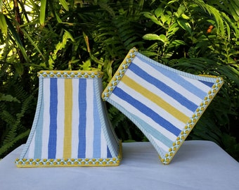 Blue Yellow Stripe Square Bell Lampshade, Clip On Lamp Shade