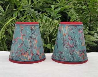 Marbleized Paper Chandelier Lampshades Set of Two