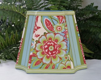 Hot Pink Blue Floral Lampshade