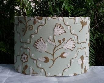 Large Lamp Shade, Crewel Embroidery, Spa Green