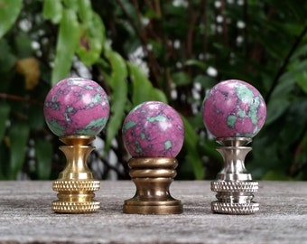Small Lamp Finial, Green and Purple