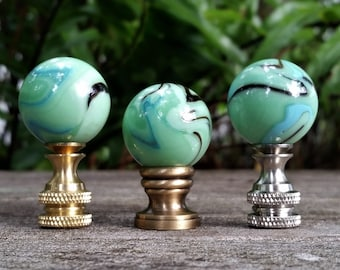 Mint Green Lamp Finial, Black, Cyan Blue